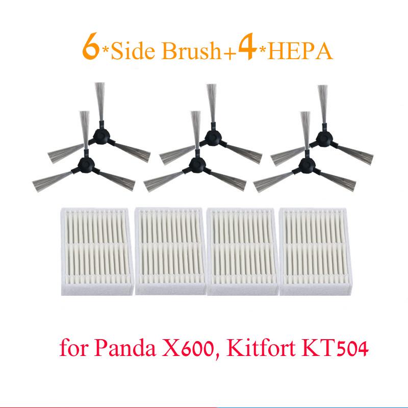 10 шт./лот Робот Пылесос Части HEPA Фильтры для Panda X600 Kitfort KT504 Роботизированная Боковая Щетка * 6 + HEPA фильтр * 4