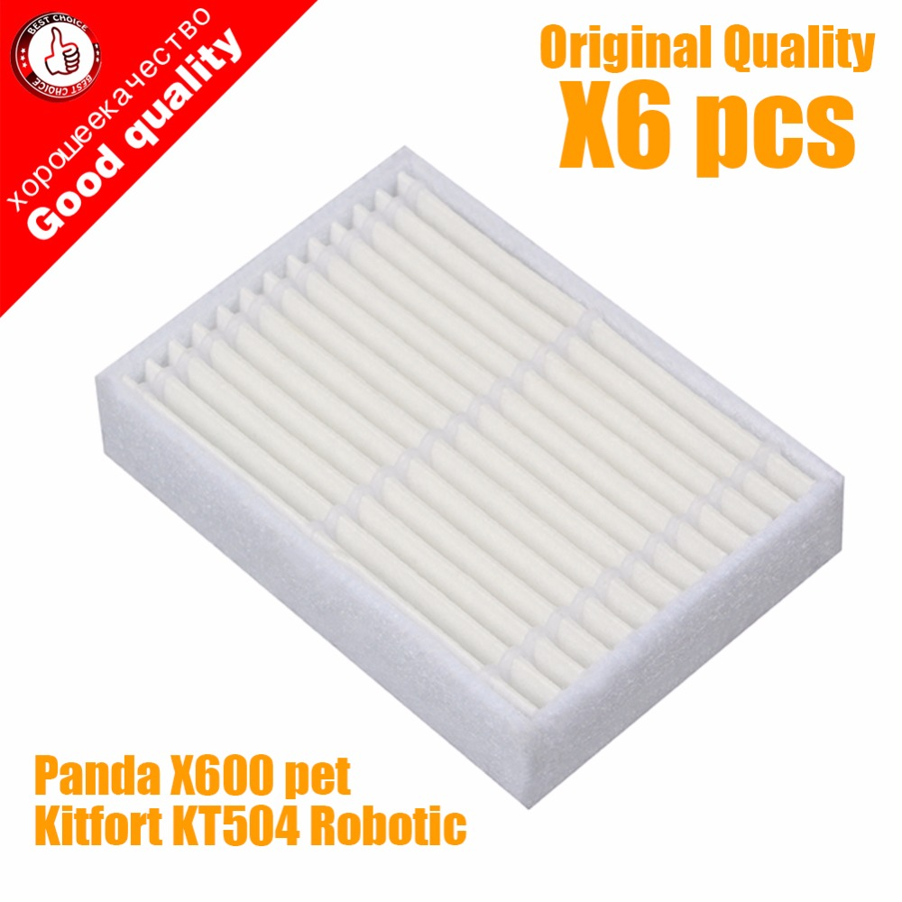6 шт./лот Высокое качество Робот Пылесос Части аксессуары HEPA Фильтр для Panda X600 пэт Kitfort KT504 Робота