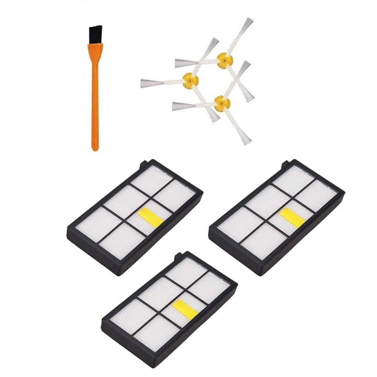 3pcs 980 Hepa Filters Compatible For iRobot Roomba 980 860 880 870 Robotic Vacuum Cleaner and 3pcs Roomba Side Brushes (800 90
